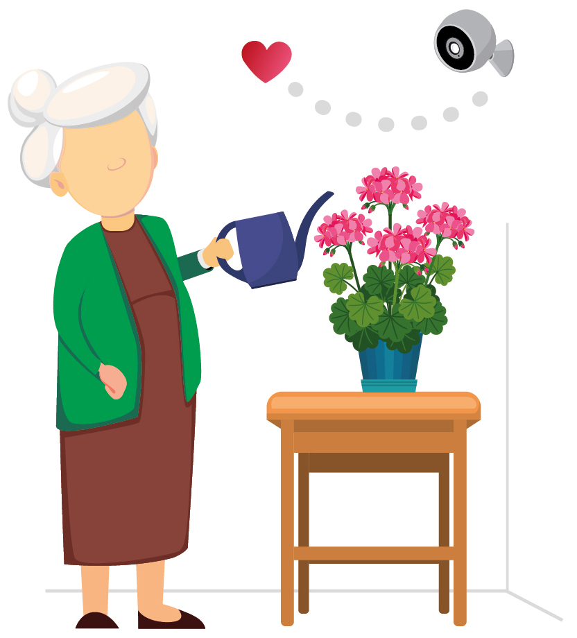 Illustration of senior woman watering plants at home